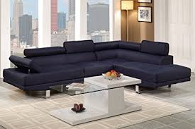 Cheap Modern Sectional Sofa Poundex Navy Blue Linen Fabric Modern Sectional Sofa