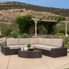 Garden Ridge Patio Furniture Clearance Reddington 6pc Outdoor Brown Wicker Sectional Seating Set Gdf Studio