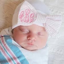 newborn bows seersucker monogrammed bow newborn girl hospital hat melondipity