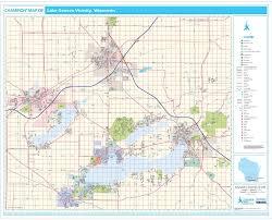 map of lake geneva wi chion lake geneva wall map