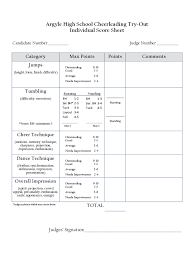 cheerleading tryout score sheet 4 free templates in pdf word