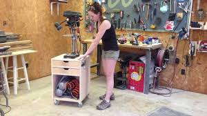 best drill press table diy rolling drill press stand youtube