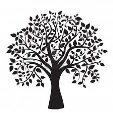 black tree silhouette isolated on white background vector stock