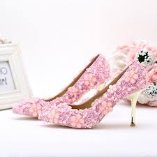 pearl lace 2016 lovely pink pearl lace wedding shoes pointed toe high heeled