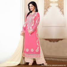 buy pink georgette palazzo suit for womens online india best