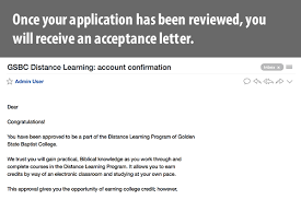 Bible College Acceptance Letter gsbc distance learning