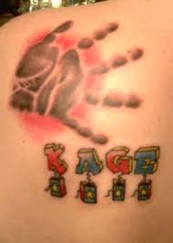 son u0027s handprint and name tattoo