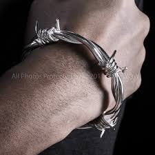 silver bracelet wire images Barb wire bangle for men heavy design JPG