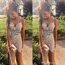 sparkly gold party dresses with crystal rhinestones 2017 long prom