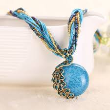 necklace natural stone images Peacock necklace natural stone thick twisted beads chain pendant jpg