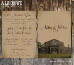 rustic barn wedding invitation suite invitation and rsvp card