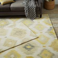 Gray And Yellow Rugs Grey Yellow And Beige Ikat Rug