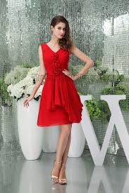 red short v neck graduation cocktail dresses with flowers
