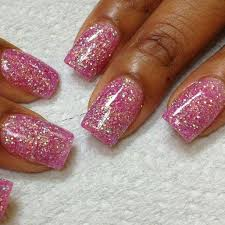 natural acrylic nails with glitter nail art and tattoo design
