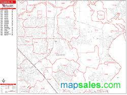 pasadena zip code map pasadena zip code wall map line style by marketmaps