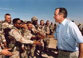 president bush visiting american troops in saudi arabia on