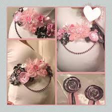 baby shower sash handmade baby girl belly band pink and gray pregnancy sash