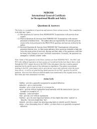 nebosh questions answers complete occupational safety and health