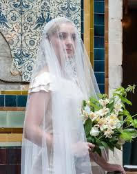 1920s wedding veil with blusher vintage style cap veil art deco
