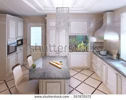 Art Deco Kitchen Art Deco Kitchen Painted Furniture Polished Stock Illustration