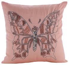 Pink Decorative Pillows The Homecentric Beaded Butterfly Cotton Linen Pink Throw Pillow