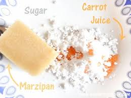 homemade naturally colored fondant and marzipan carrots sew
