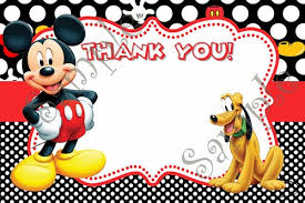 mickey mouse birthday mickey mouse birthday invitation free thank you card
