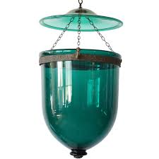 Hundi Light Fixture by Antique Anglo Indian Regency Style Green Glass Hall Lantern Hundi