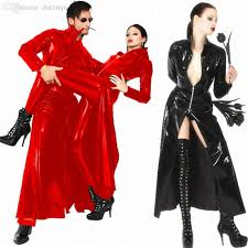 wholesale unisex men women catsuit leather long coat black