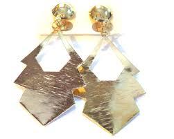 clip on dangle earrings clip on earrings shiny gold tone geometric dangle earrings 3 inch l