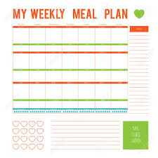 lunch box planner template meal plan for a week calendar page vector printable boxes