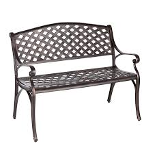 amazon com patio sense antique bronze cast aluminum patio bench