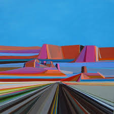empty highways burst with color in bold landscape paintings creators