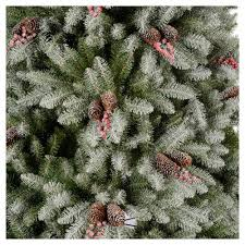tree 210 cm flocked dunhil with pine cones and