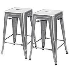 silver metal bar table amazon com furmax 24 high metal stools backless silver metal bar