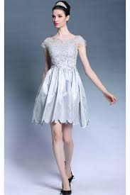prom dresses online gray cap sleeve lace puffy short cocktail