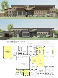 semi custom house plans 61custom modern floor plans contemporary side courtyard house plan