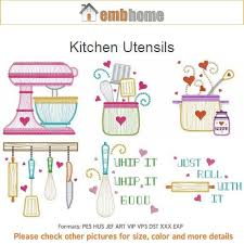 Machine Embroidery Designs For Kitchen Towels Kitchen Utensils Cooking Tools Machine Embroidery Designs Instant