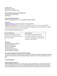 adjectives lesson plan adjective educational assessment