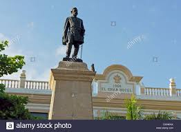statue of manuel cepeda peraza in the parque hidalgo merida stock