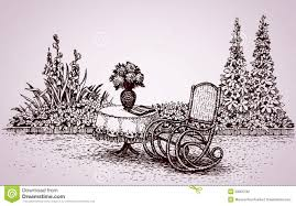 Chair Jpg Rocking Chair Drawing Rocking Chair In The Yard Vector Drawing Stock Illustration