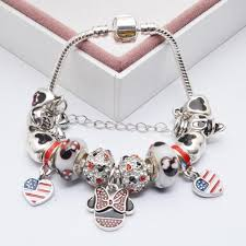 pandora style silver charm bracelet images Mickey minnie silver charm bracelets for women with crystal jpg