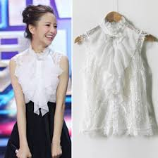sale white chiffon lace shirt clothes women chiffon clothing