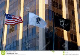 Massachusetts Flag Three Flags United States Massachusetts Pow Mia Stock Image