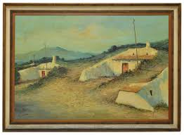 landscape painting oil on canvas vintage spanish