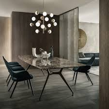 glass modern dining table rimadesio manta table with brown aluminum structure and emperador