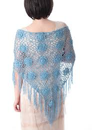 crochet wrap blue crochet fringed triangle shawl wrap blue velvet vintage
