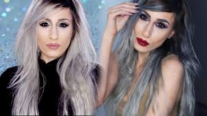 how to blend in gray roots of black hair with highlig diy from silver to grey ombre hair no damage root blending