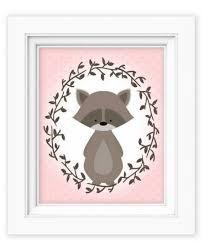 Raccoon Nursery Decor Printable Wall Woodland Raccoon Baby Nursery Decor