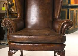 Queen Anne Wingback Chair Chesterfield Queen Anne Wing Chair Matching Footstool In Vintage